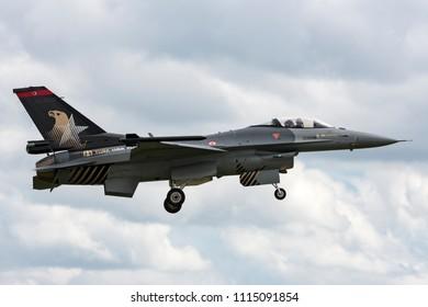 RAF Waddington, Lincolnshire, UK - July 4, 2014: Turkish Air Force (Turk Hava Kuvvetleri) General Dynamics F-16CG Fighting Falcon 90-0011 of the Solo Turk display team.