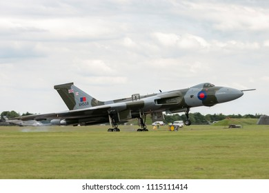 RAF Waddington, Lincolnshire, UK - July 6, 2014: Former Royal Air Force (RAF) Avro Vulcan B.2 bomber aircraft XH558 operated by the Vulcan to the Sky trust at the 2014 RAF Waddington Airshow.