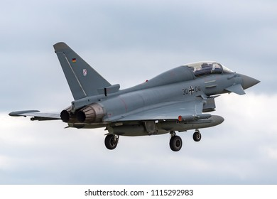 RAF Waddington, Lincolnshire, UK - July 7, 2014: German Air Force (Luftwaffe) Eurofighter EF-2000 Typhoon fighter jet aircraft.