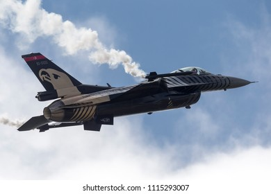 RAF Waddington, Lincolnshire, UK - July 4, 2014: Turkish Air Force (Turk Hava Kuvvetleri) General Dynamics F-16CG Fighting Falcon 91-0011 of the Solo Turk display team.