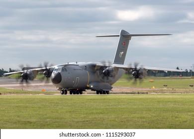 RAF Waddington, Lincolnshire, UK - July 4, 2014: Turkish Air Force (Turk Hava Kuvvetleri) Airbus A400M transport aircraft 13-0009.