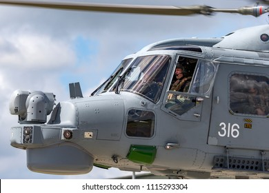 RAF Waddington, Lincolnshire, UK - July 7, 2014: Royal Navy Fleet Air Arm Westland Lynx HMA.8 (WG-13) Anti Submarine Warfare Helicopter XZ726.