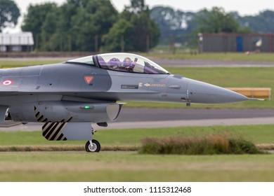 RAF Waddington, Lincolnshire, UK - July 4, 2014: Turkish Air Force (Turk Hava Kuvvetleri) General Dynamics F-16CG Fighting Falcon 90-0011 of the ÕSolo TurkÕ display team.