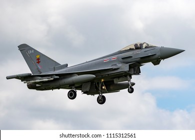 RAF Waddington, Lincolnshire, UK - July 4, 2014: Royal Air Force (RAF) Eurofighter EF-2000 Typhoon FGR.4 ZJ930 from No.41(R) Squadron based at RAF Coningsby.