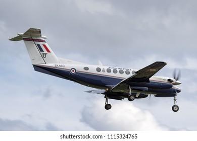 RAF Waddington, Lincolnshire, UK - July 5, 2014: Royal Air Force (RAF) Hawker Beechcraft B200GT King Air Aircraft from No.45(R) Squadron based at RAF Cranwell.