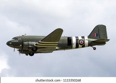 RAF Waddington, Lincolnshire, UK - July 5, 2014: Royal Air Force (RAF) Battle of Britain Memorial Flight Douglas C-47 Dakota (DC-3) ZA947.