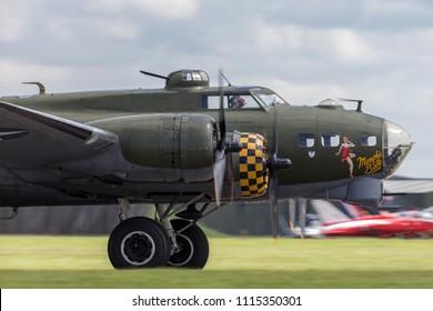 RAF Waddington, Lincolnshire, UK - July 5, 2014: World War II era Boeing B-17 Flying Fortress bomber aircraft ÒSally BÓ (G-BEDF).