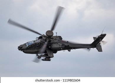 RAF Waddington, Lincolnshire, UK - July 6, 2014: AgustaWestland WAH-64D Apache AH1 Attack helicopter ZJ 172 of the British Army Air Corps.