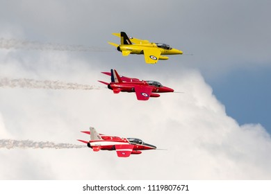 RAF Waddington, Lincolnshire, UK - July 7, 2014: Former Royal Air Force (RAF) 1950s era Folland Gnat T Mk.1 jet trainer aircraft G-MOUR.