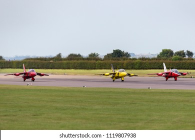 RAF Waddington, Lincolnshire, UK - July 7, 2014: Former Royal Air Force (RAF) 1950s era Folland Gnat T Mk.1 jet trainer aircraft G-MOUR