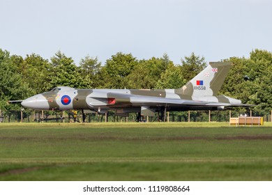 RAF Waddington, Lincolnshire, UK - July 6, 2014: Former Royal Air Force (RAF) Avro Vulcan B.2 bomber aircraft XH558 operated by the Vulcan to the Sky Trust.