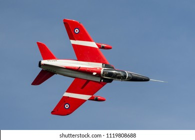 RAF Waddington, Lincolnshire, UK - July 7, 2014: Former Royal Air Force (RAF) Folland Gnat T Mk.1 jet trainer aircraft G-RORI (XR538) of the Gnat Display Team.