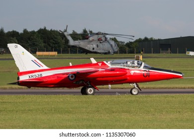 RAF Waddington, Lincolnshire, UK - July 7, 2014: Former Royal Air Force (RAF) 1950Õs era Folland Gnat T Mk.1 jet trainer aircraft G-RORI (XR538) of the Gnat Display Team.