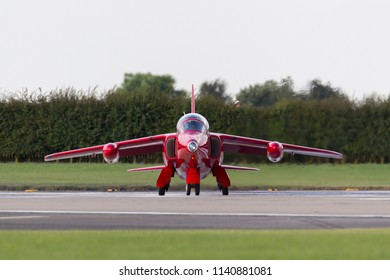 RAF Waddington, Lincolnshire, UK - July 7, 2014: Former Royal Air Force (RAF) Red Arrows aerobatic display team Folland Gnat T Mk.1 jet trainer aircraft G-TIMM (XS111) of the Gnat Display Team.