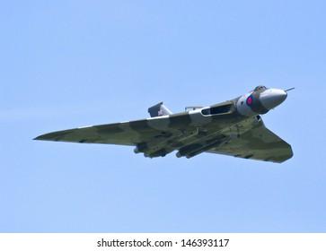 RAF WADDINGTON, UK - JULY 6: A Vulcan bomber on display at RAF Waddington Airshow event, July 6, 2013 at RAF Waddington, Lincolnshire. XH558 Avro Vulcan is the world's last flying Vulcan