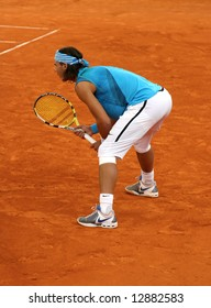 Rafael Nadal, waiting for the next ball, semi-finals in Tennis Master Series in Hamburg, 17th of May, 2008.