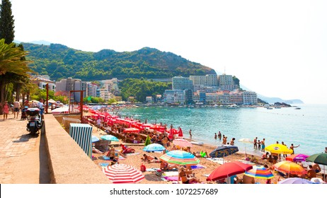 RAFAILOVICI. MONTENEGRO - AUGUST, 2017. Beautiful View on beach in Becici and Rafailovici on the Budva Riviera on a hot Sunny summer day. Wide Horizontal Image