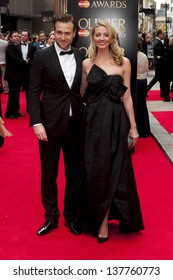 Rafe Spall and Elize du Toit arriving for the Laurence Olivier Awards 2013 at the Royal Opera House, Covent Garden, London. 28/04/2013