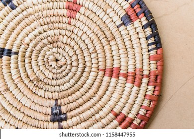 Raffia Place Mat Extra Rough Plaiting Grunge Texture Detail. Traditional handcraft weave Thai or African style pattern nature background texture wicker surface for furniture material