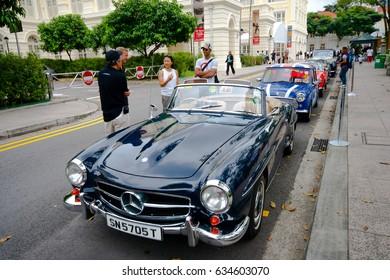 Raffles Landing Site, Singapore - July 27, 2008 : Vintage Mercedes-Benz display in Vintage Car Grand Prix & Concours at Raffles, Singapore