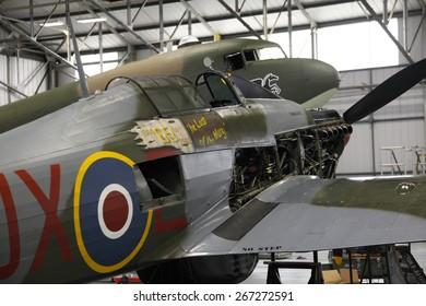 The RAF's Battle of Britain Memorial Flight hangar, at RAF Coningsby,Lincolnshire,Britain,UK.taken 14/07/2013