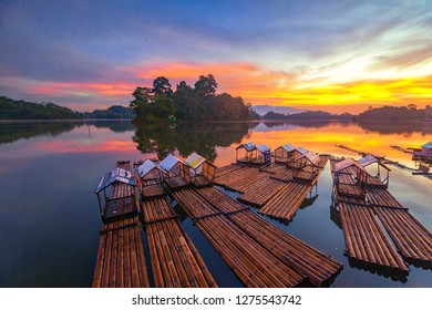 raft and the magnificent sky, at Situ Gede, Tasikmalaya District, West Java, Indonesia