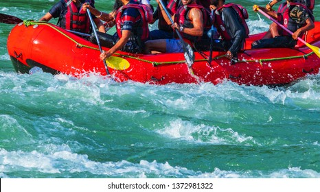 raft  and oak  closeup while whitewater rafting