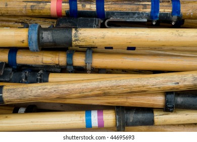 Raft oars piled up after a rafting trip through the Grand Canyon