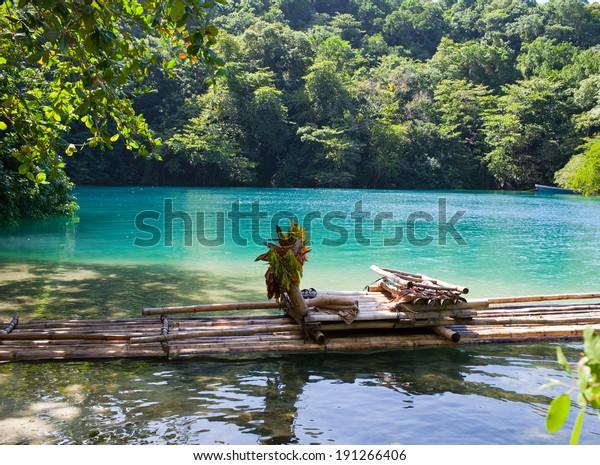 Raft On Bank Blue Lagoon Jamaica Stock Photo Edit Now