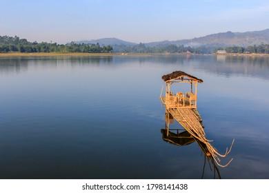 Raft on a lake for fishing