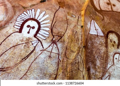 Raft Point, Western Australia, Australia  - July 22 2017: Wandjina are creator spirits from the Dreamtime. Tradition holds that these marks were made in the rock when they passed to the spirit world