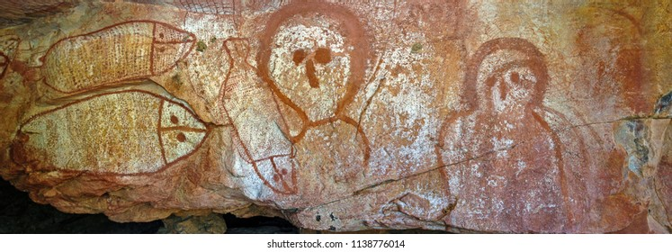 Raft Point, Western Australia, Australia  - May 24 2009: Wandjina are creator spirits from the Dreamtime. Traditional holds that these marks were made in the rock when they passed to the spirit world