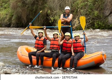 raft river team water boat white party guide young people huge group of young human ready to go rafting raft river team water boat white party guide young people ship satisfied building sport rafting