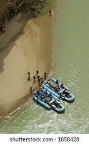 Raft trip stops for lunch on the Colorado River