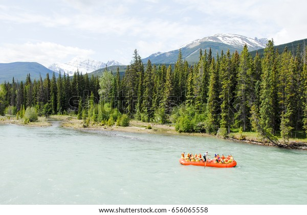 Rafting at Athabasca River in the Spring, Jasper, Canadian Rockies, Alberta, Canada