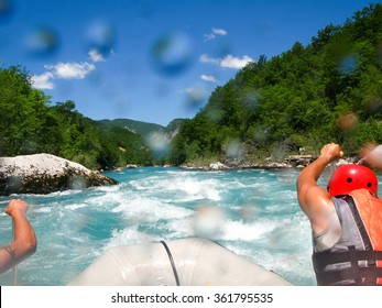 rafting boat on the fast mountain river in Montenegro