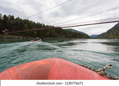 Rafting and boating on the Katun River in the Altai in Russia. First-person view.