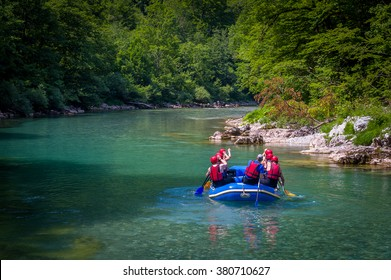 Rafting in the canyon of mountain river Tara. Beautiful mountain river canyon - popular touristic entertainment spot. Montenegro.