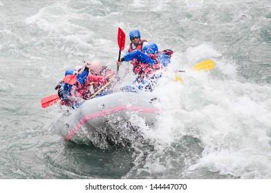 Rafting, extreme, team, sport, fun, active, relax,splashing the white water.