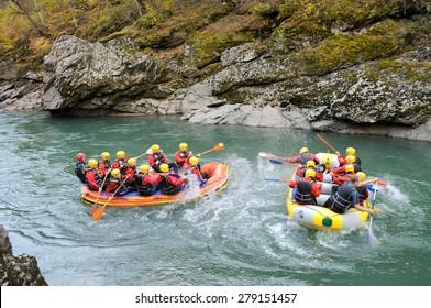 Rafting. Granite canyon, Republic of Adygea, Russia. October 24, 2014