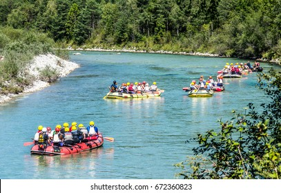 rafting group at a river in austria