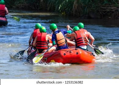 Rafting Rafting at Mae Taeng,Chiang Mai,Thailand,extreme and fun sport.