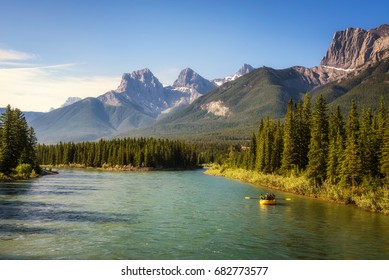 Rafting on the Bow River in Banff National Park near Canmore in the Summer, Canadian Rockies, Alberta, Canada