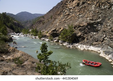 Rafting on the Dalaman River, Mugla. Amazing view and nature background.