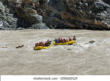 Rafting on the Zanskar river. The confluence of the Indus and Zanskar river - Tibet, Leh district, Western Ladakh, Himalayas, Jammu and Kashmir, Northern India