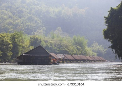 Rafting resort and kayak on river kwai at sai yok , Kanchanaburi, Thailand