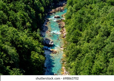 Rafting. Sail along the river Tara in kayaks. View from a height. Montenegro