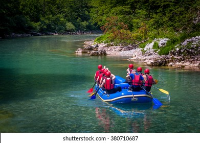 Rafting at Tara mountain river. Group of tourists in the inflatable raft Montenegro