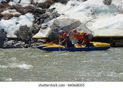 Rafting team float down the Irkut river