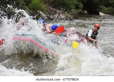 Rafting in the white water
